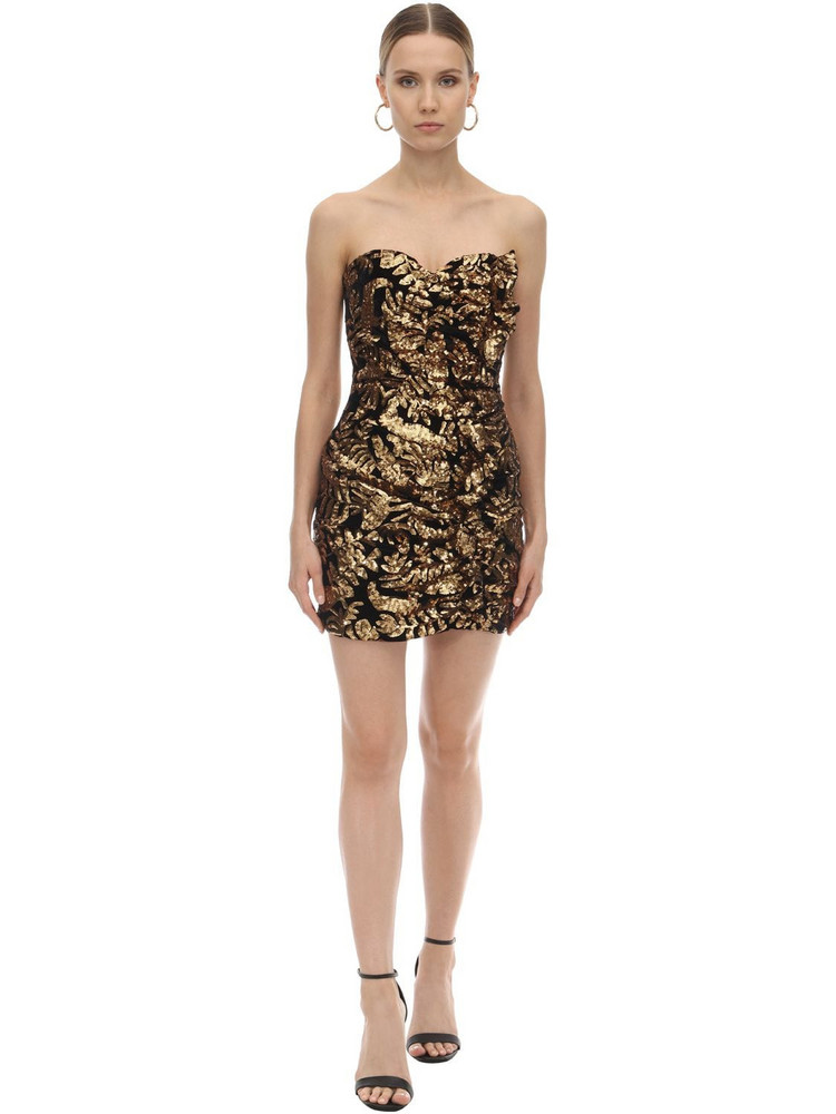 GIUSEPPE DI MORABITO Strapless Sequined Mini Dress in black / gold