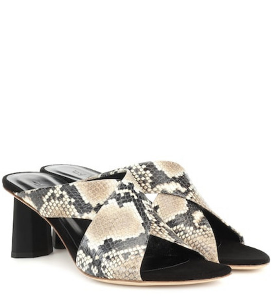 By Far Jaz snake-effect leather sandals in beige