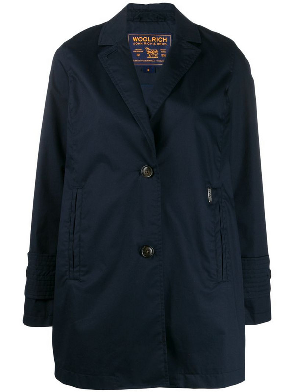 Woolrich single-breasted trench coat in blue