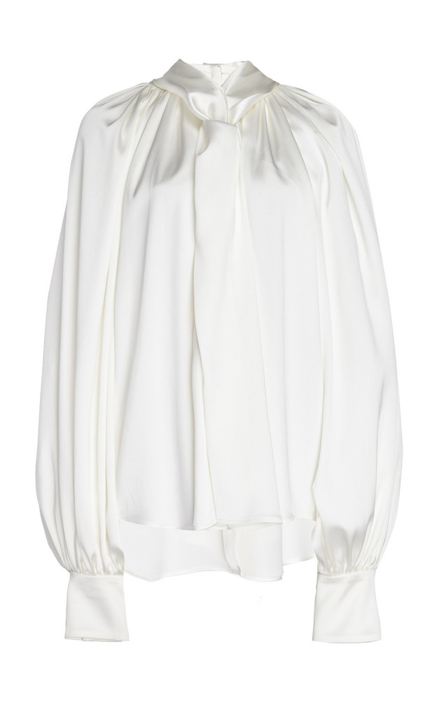 A.W.A.K.E. A.W.A.K.E. Draped Tie-Detailed Crepe De Chine Blouse in white