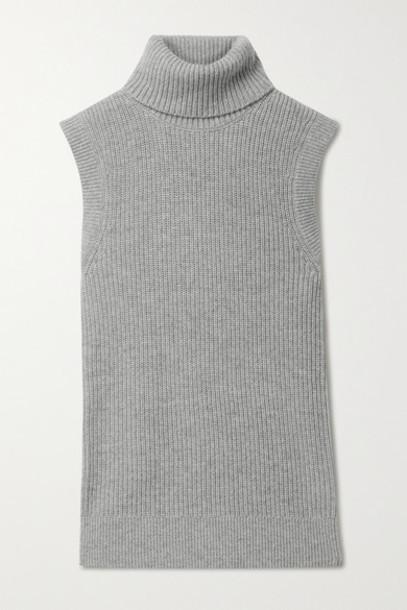 Michael Kors Collection - Ribbed Mélange Cashmere Turtleneck Tank - Light gray