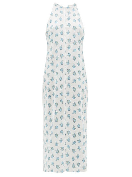 Emilia Wickstead - Lulu Bow Neck Floral Print Nightdress - Womens - White Print
