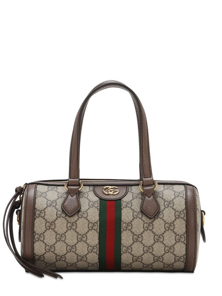 GUCCI Ophidia Gg Original Round Top Handle Bag in brown