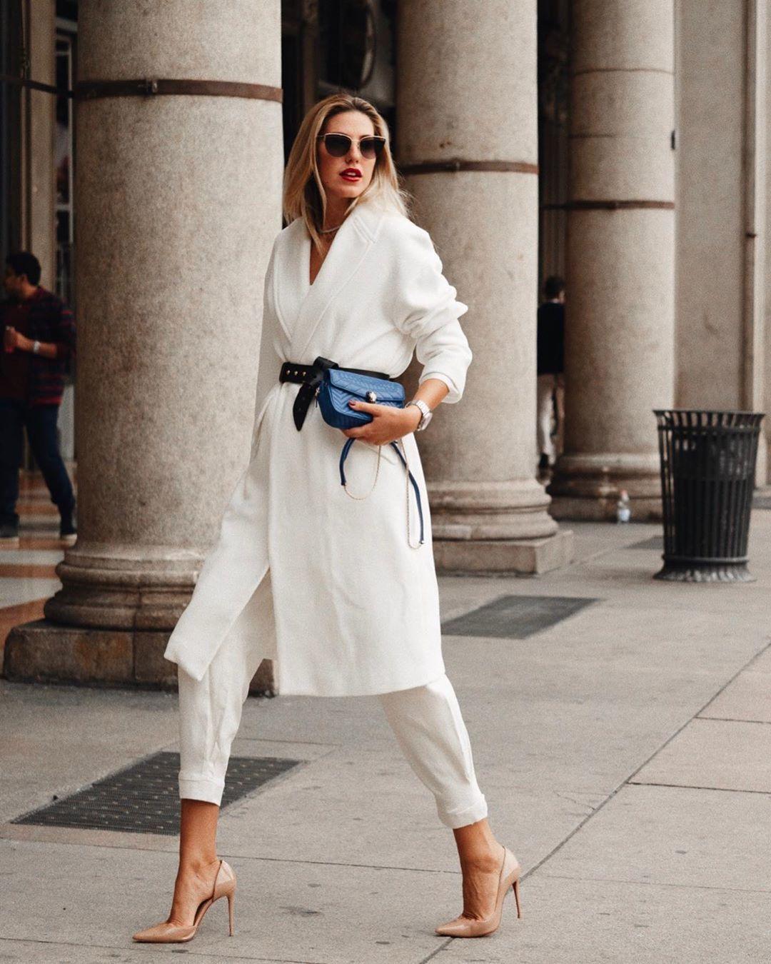 coat white coat long coat pumps white pants black belt black bag