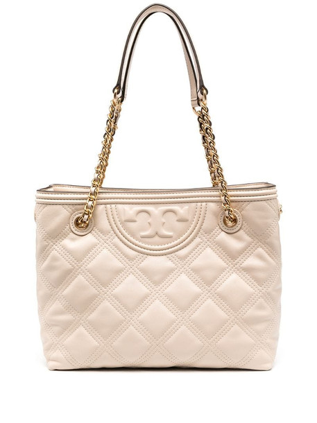 Tory Burch diamond quilted logo tote in neutrals