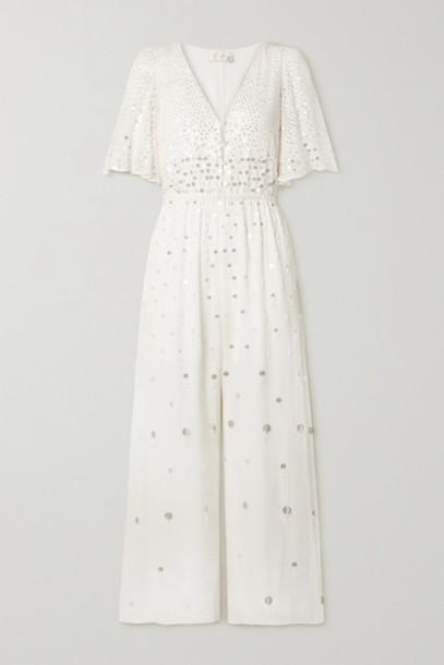 Temperley London - Ruth Embellished Crepe De Chine Jumpsuit - Ivory