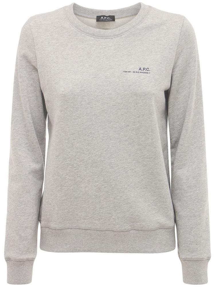 A.P.C. Logo Cotton Fleece Sweatshirt in grey
