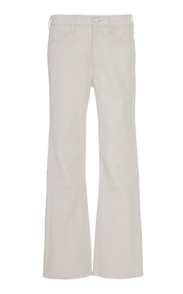 FRAME Le Crop Flared Cropped Leather Pants in white
