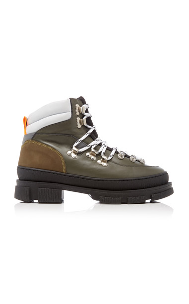 Ganni Suede-Trimmed Leather Hiking Boots in green