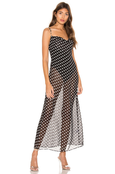 superdown Dina Draped Maxi Dress in black