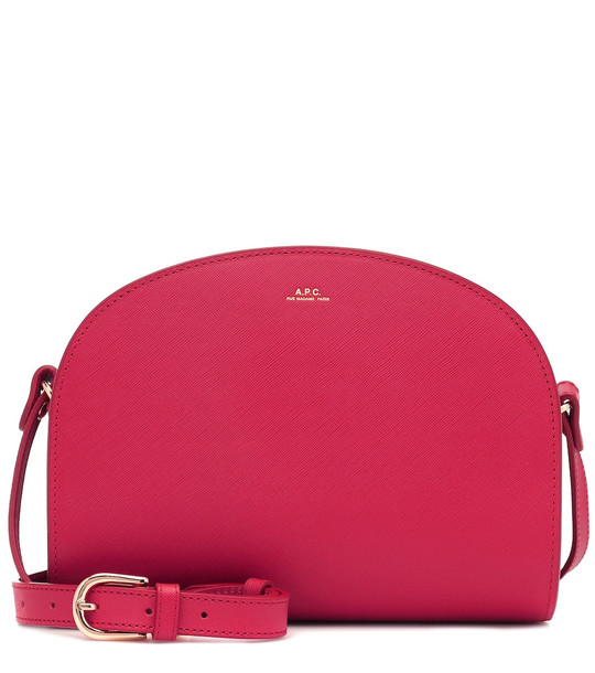 A.P.C. Demi-Lune leather shoulder bag in pink