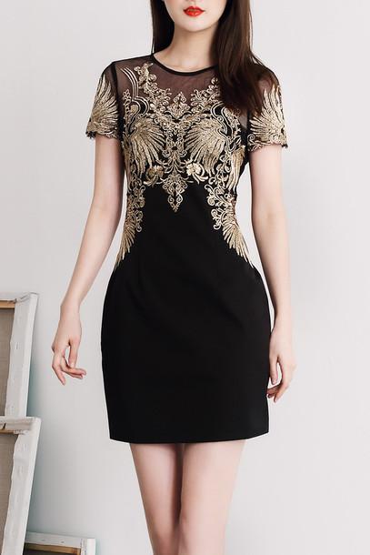 dress black gold fashion trendy party elegant classy dezzal