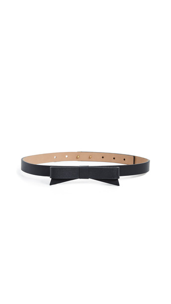 Kate Spade New York Leather Bow Belt in black / gold