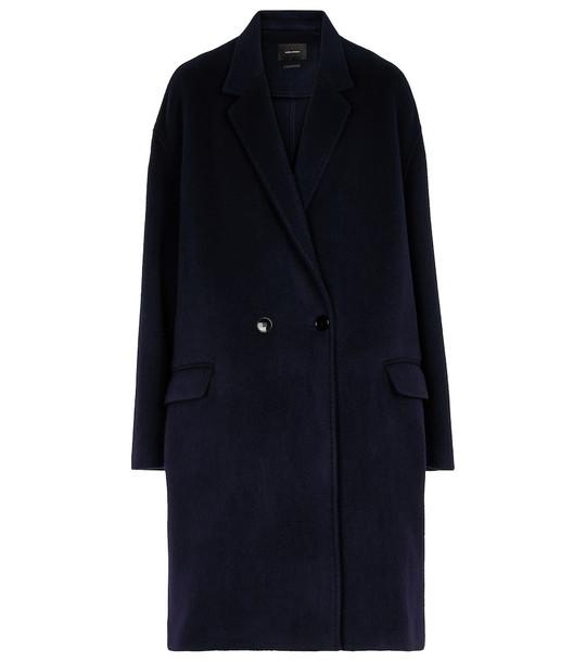 Isabel Marant Efegozi wool and cashmere coat in blue