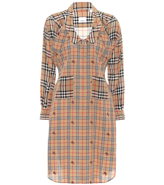 Burberry Checked silk shirt dress in beige