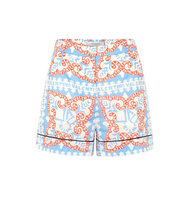 Valentino Exclusive to Mytheresa – Printed high-rise cotton shorts in blue