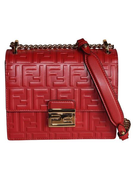 Fendi Kan I Small Shoulder Bag in gold / red