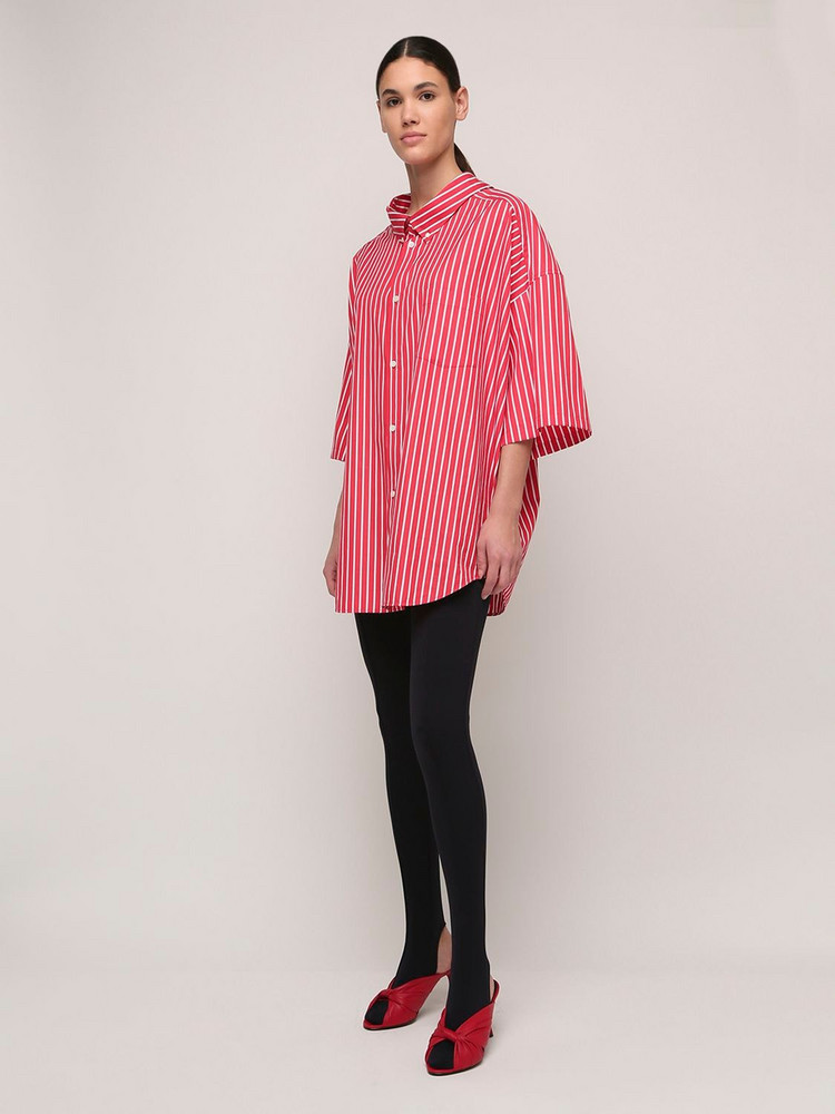 BALENCIAGA Over Striped Cotton Poplin Shirt W/logo in red / white