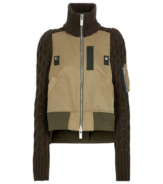 sacai Asymmetric knit-sleeve bomber jacket in green
