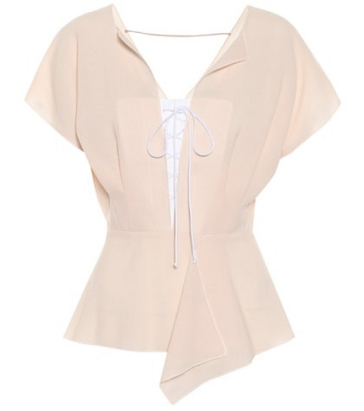 Roland Mouret Tayrona wool crêpe blouse in pink