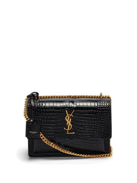 Saint Laurent - Sunset Medium Crocodile-effect Leather Bag - Womens - Black