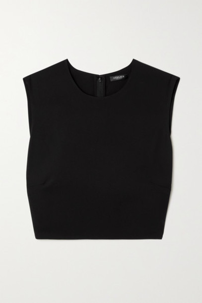Versace - Cropped Embellished Cutout Jersey Top - Black
