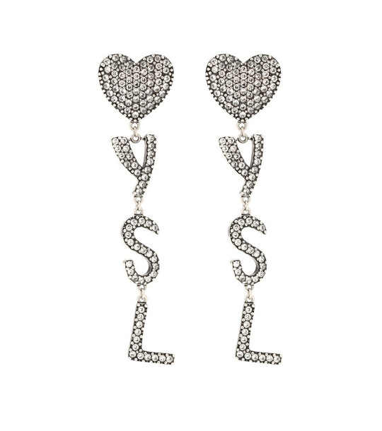 Saint Laurent Crystal-embellished earrings in silver