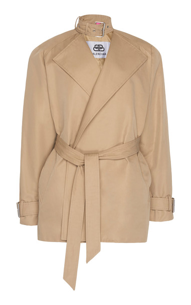 Balenciaga Choker-Detailed Cotton Cropped Trench Coat in neutral