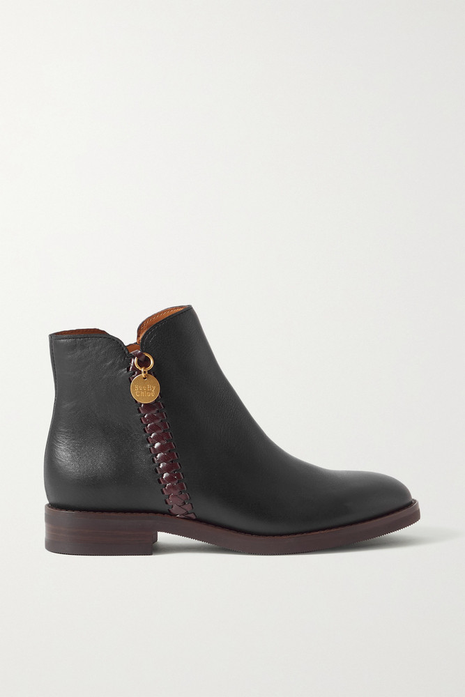 See By Chloé See By Chloé - Louise Whipstitched Leather Ankle Boots - Black