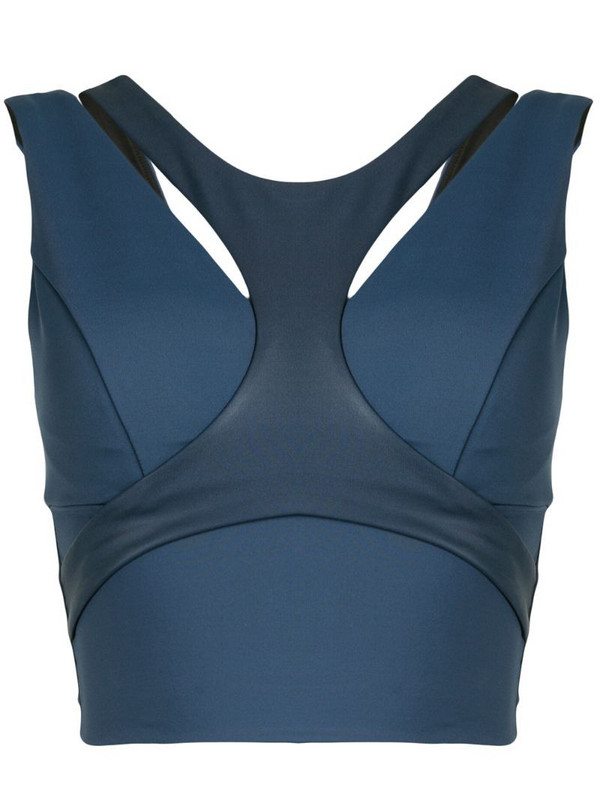 Michi harness-front sports bra in blue