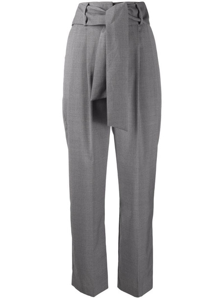 MSGM high-rise pleated tie-waist trousers in grey