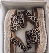 shoes,sandals,platform shoes,leopard print