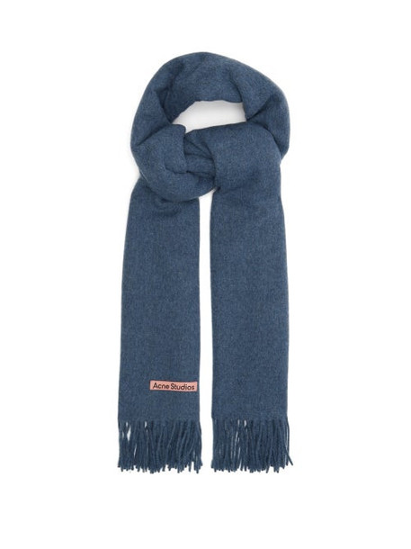 Acne Studios - Canada New Fringed Wool Scarf - Womens - Light Blue