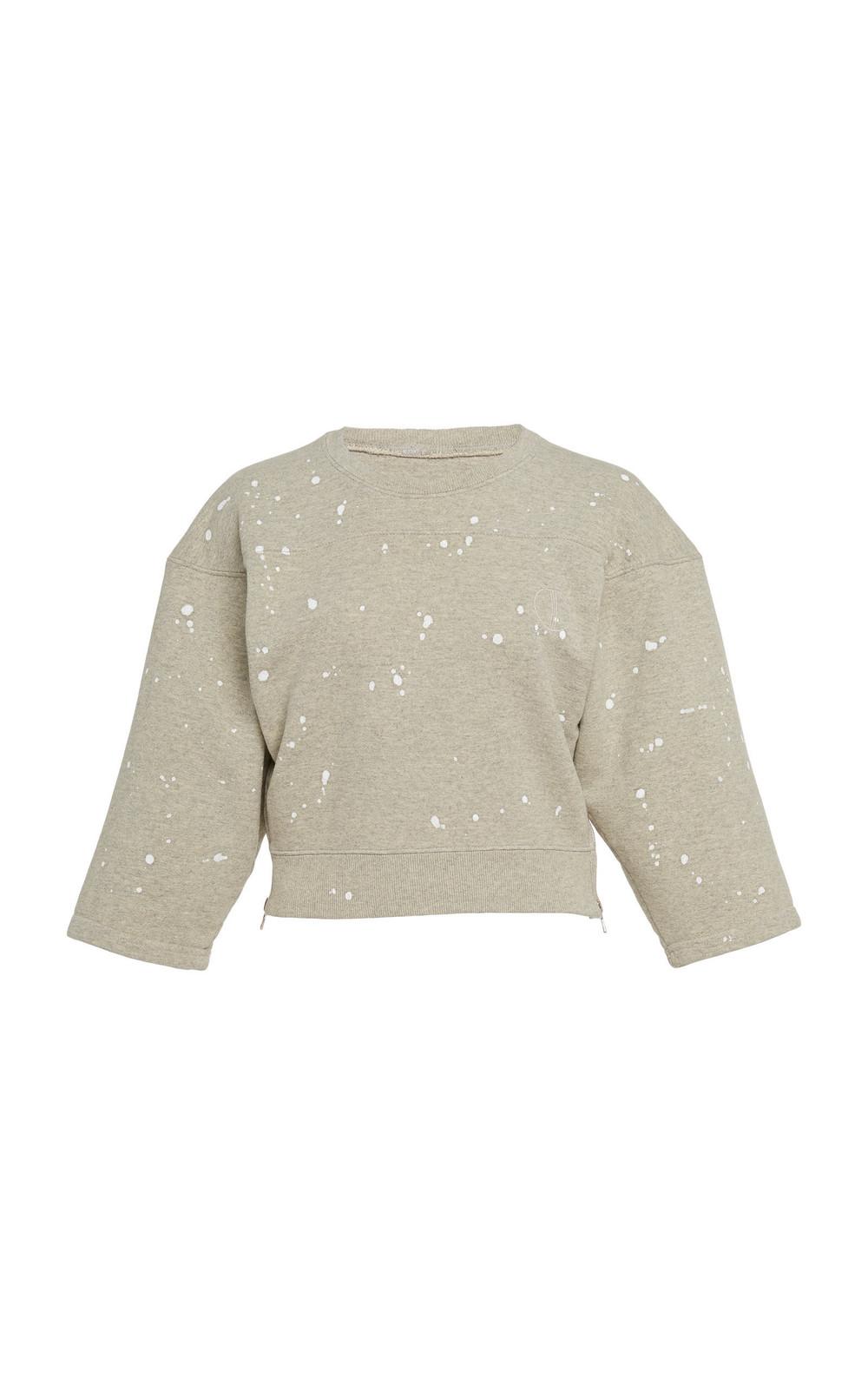 Tre by Natalie Ratabesi Cotton Tiagra Cropped Sweatshirt in grey