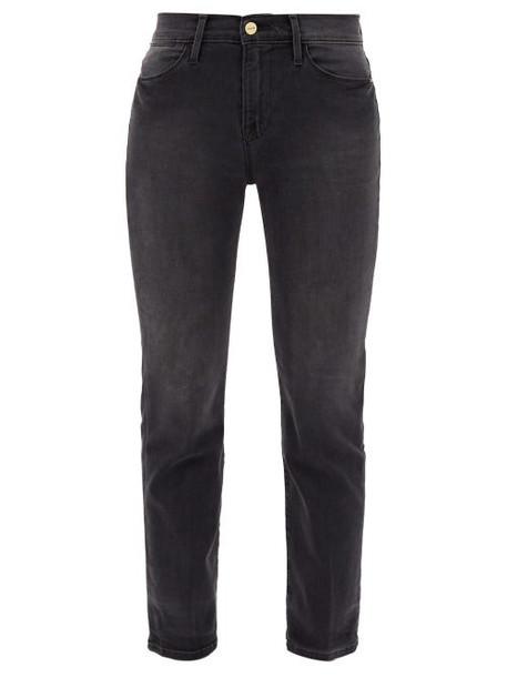 Frame - Le High Straight-leg Cropped Jeans - Womens - Dark Grey