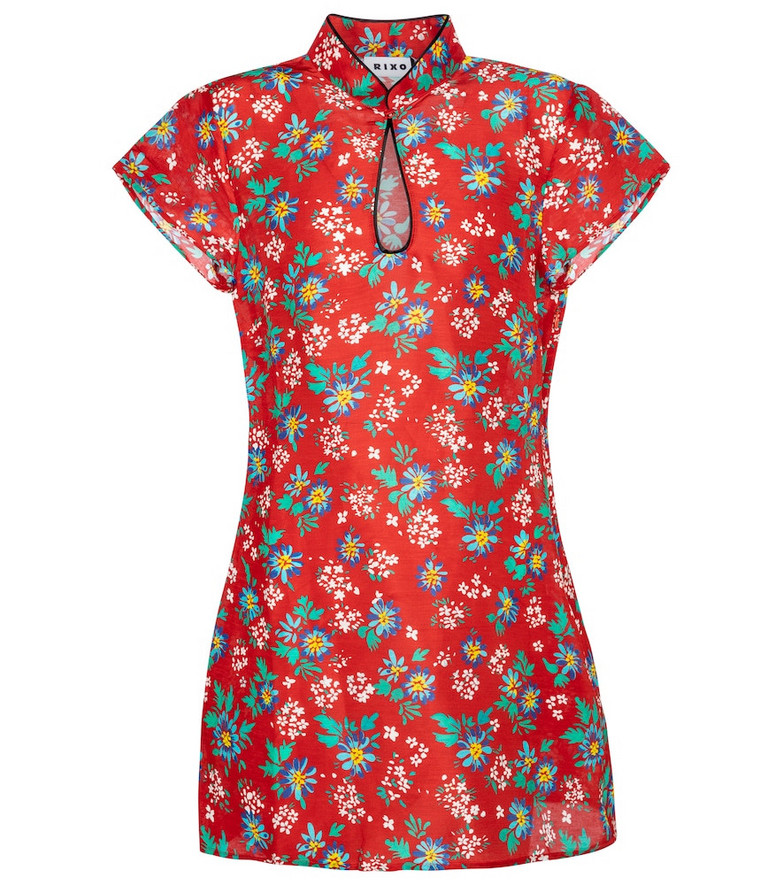 Rixo Lolita floral linen and silk minidress in red