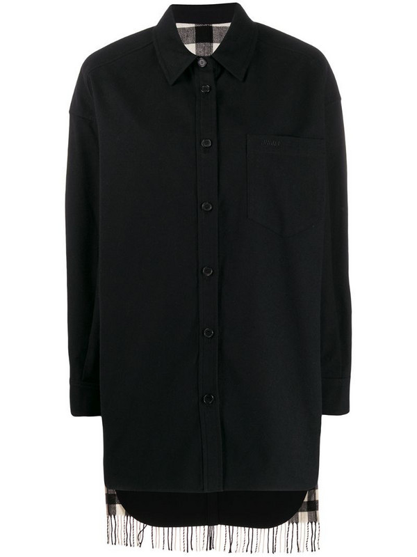 Juun.J boxy fit check patterned shirt in black
