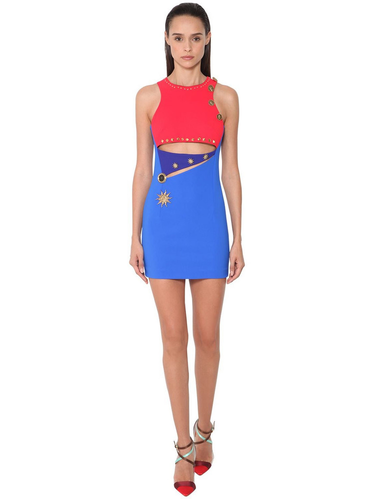 FAUSTO PUGLISI Cut Out Stretch Jersey Mini Dress in blue / red