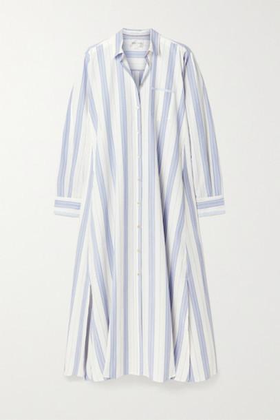 forte forte - Striped Slub Cotton And Linen-blend Maxi Dress - White
