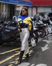 skirt,white skirt,asymmetrical skirt,satin,black boots,knee high boots,white bag,handbag,turtleneck,sweatshirt,black belt