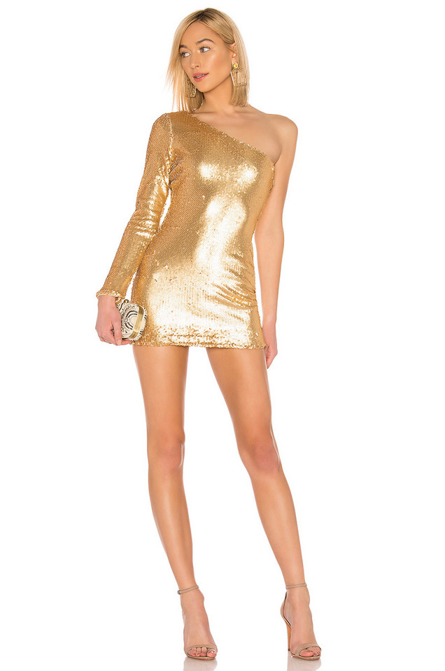 About Us Alec One Shoulder Dress in gold / metallic