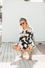 mi aventura con la moda,blogger,sunglasses,sweater,bag,skirt,shoes,crochet top,boots,spring outfits