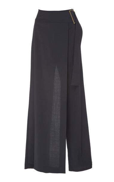 Rejina Pyo Gillian Wrap-Effect Belted Wool Pants Size: 14 in black