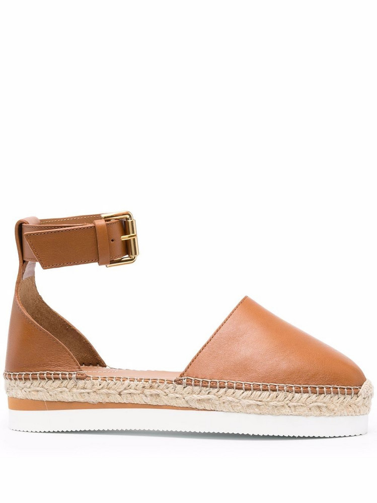 See by Chloé See by Chloé flat leather espadrilles - Brown