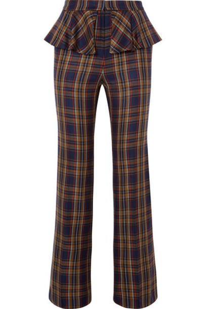 Pushbutton - Layered Checked Twill Straight-leg Pants - Brown
