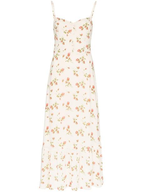 Reformation Emersyn floral-print slip dress in white