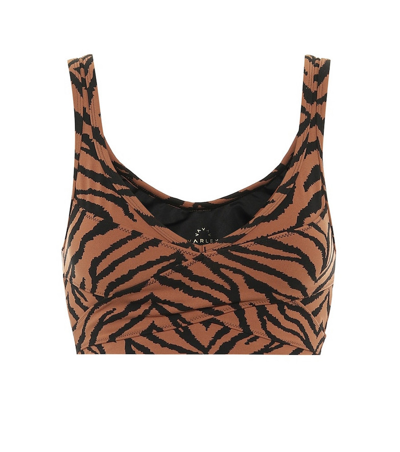 Varley Kellam zebra-print sports bra in brown
