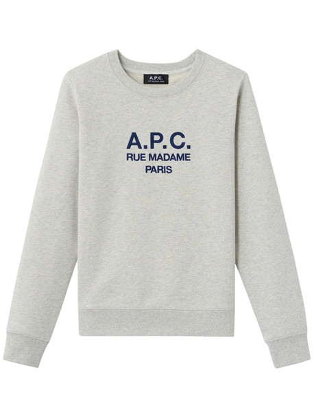 A.P.C. Sweat Tina Logo Jersey Sweatshirt in ecru