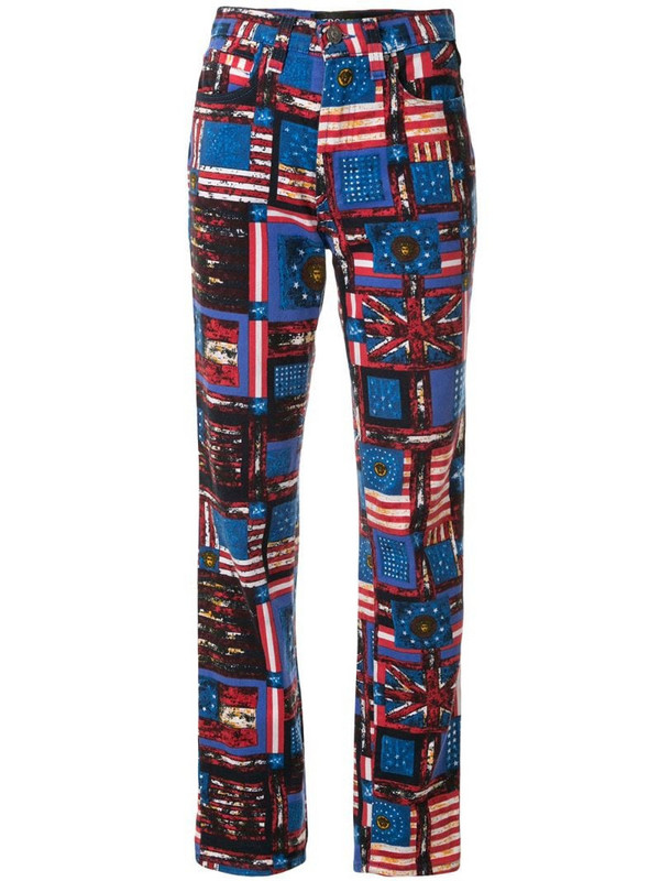Versace Pre-Owned flag print straight-leg jeans in blue