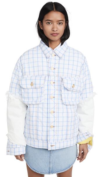 Natasha Zinko Oversized Padded Denim Buttoned Shirt Jacket